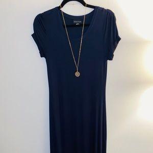 Adrienne Vittadini Navy Maxi Shirt Dress
